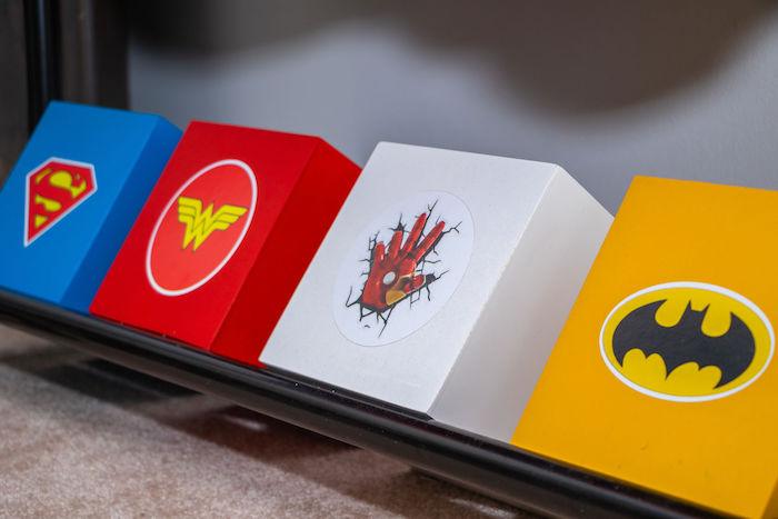 Superhero Themed Favor Boxes from a Superhero Birthday Party on Kara's Party Ideas | KarasPartyIdeas.com (24)