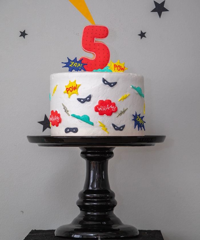Superhero Cake from a Superhero Birthday Party on Kara's Party Ideas | KarasPartyIdeas.com (19)