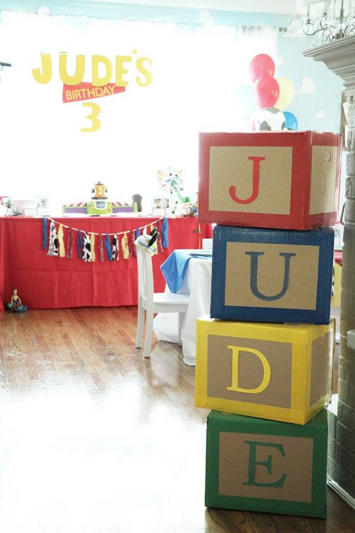 """Toy"" Block Letter Sign from a Toy Story Birthday Party on Kara's Party Ideas 