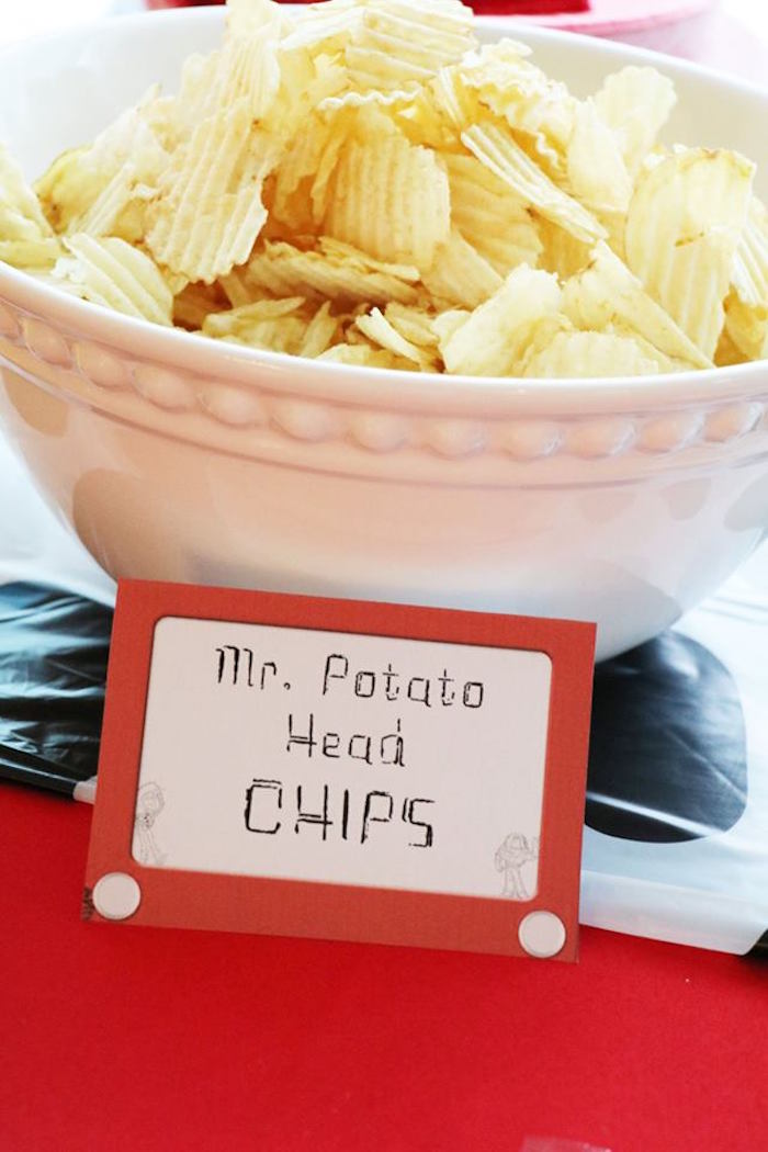 Mr. Potato Head CHIPS from a Toy Story Birthday Party on Kara's Party Ideas | KarasPartyIdeas.com (30)