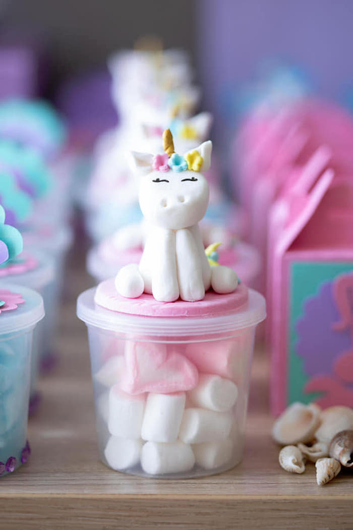 Unicorn-topped Favor Jar from a Unicorns and Mermaids Birthday Party on Kara's Party Ideas | KarasPartyIdeas.com (18)