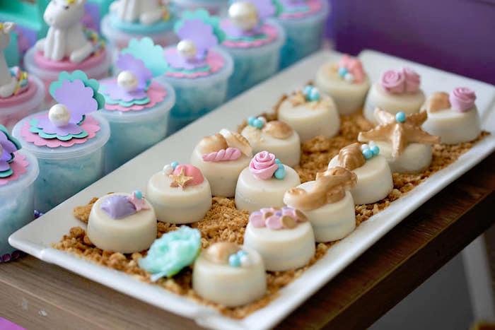 Sea Shell Oreos from a Unicorns and Mermaids Birthday Party on Kara's Party Ideas | KarasPartyIdeas.com (17)