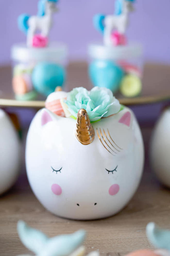 Unicorn Planter from a Unicorns and Mermaids Birthday Party on Kara's Party Ideas | KarasPartyIdeas.com (11)