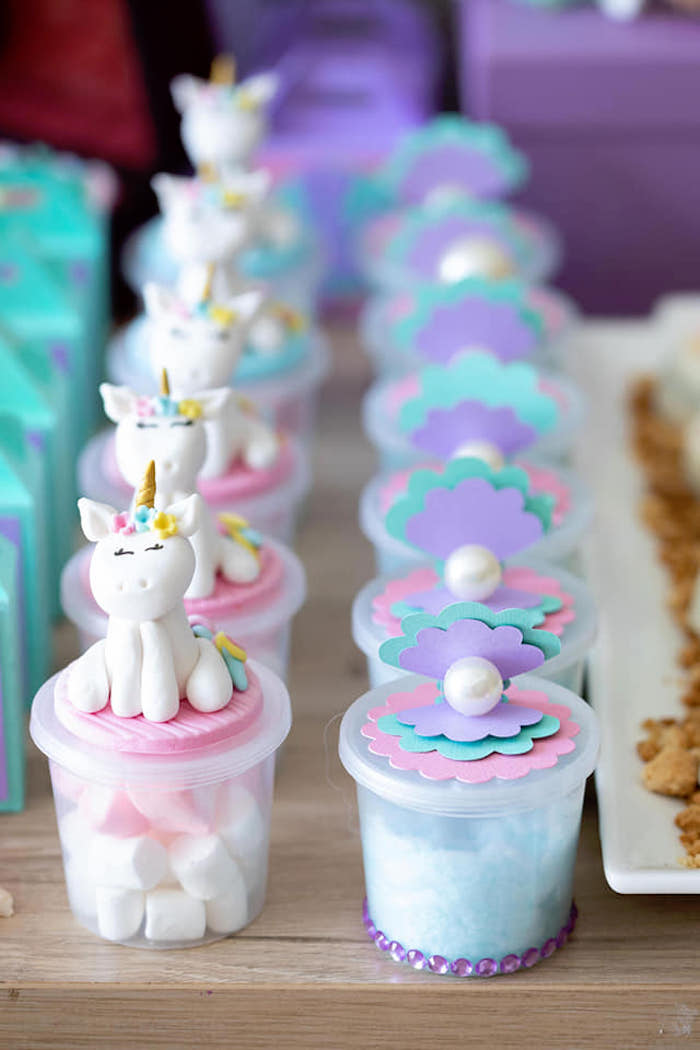Unicorn Sea Shell Favor Jars From A Unicorns And Mermaids Birthday Party On Karas