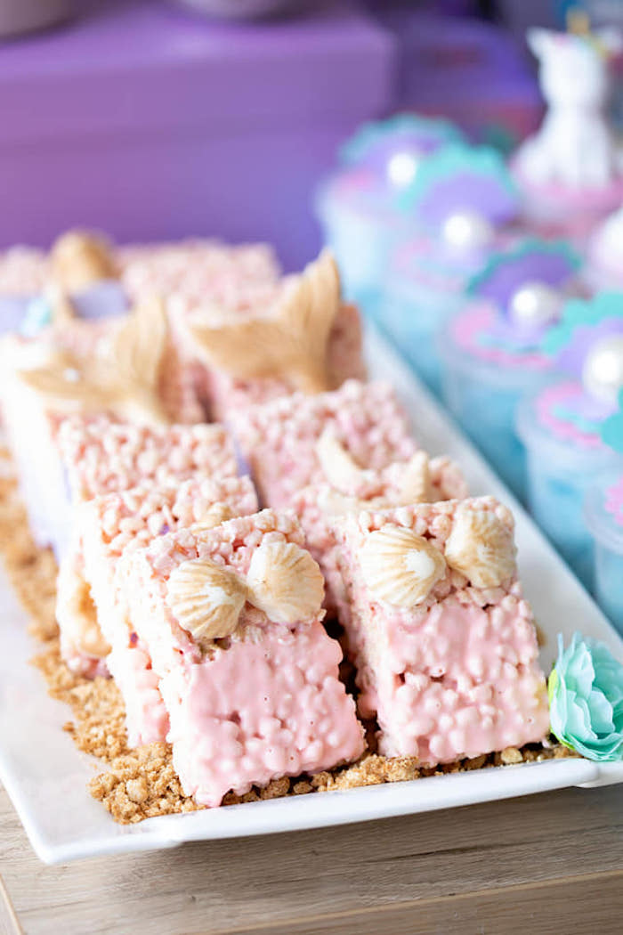 Mermaid Krispies from a Unicorns and Mermaids Birthday Party on Kara's Party Ideas | KarasPartyIdeas.com (9)