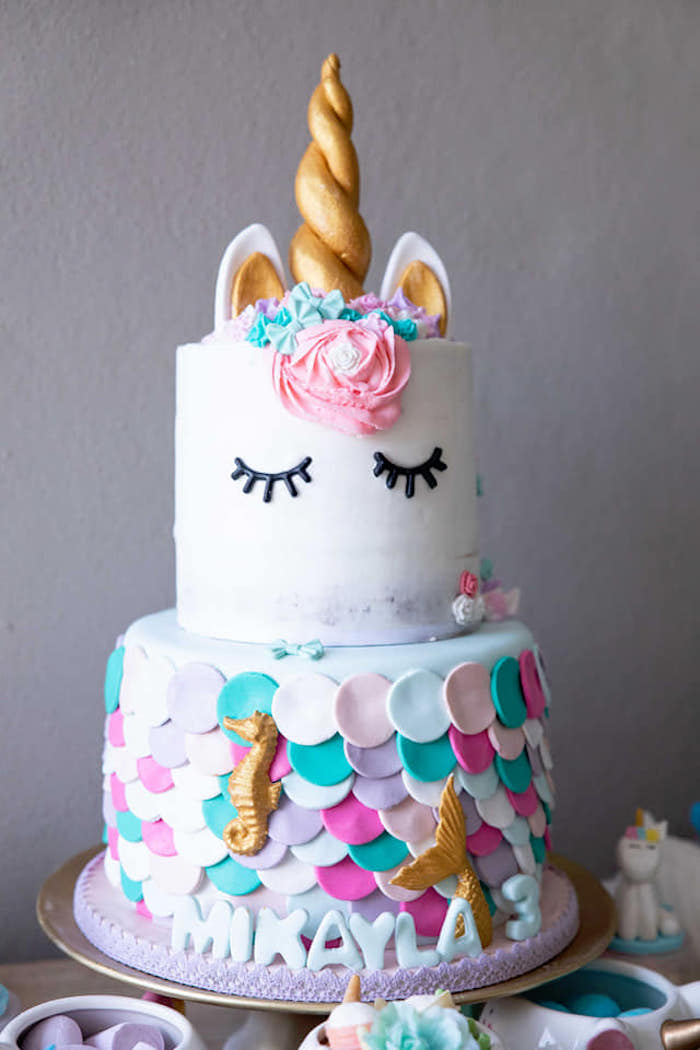 Unicorn Mermaid Cake From A Unicorns And Mermaids Birthday Party On Karas Ideas