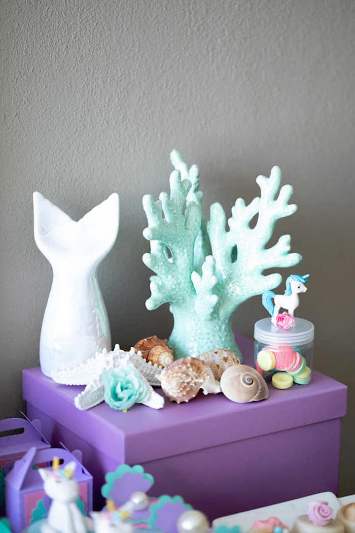 Sea Shells + Coral Reef Decor from a Unicorns and Mermaids Birthday Party on Kara's Party Ideas | KarasPartyIdeas.com (20)