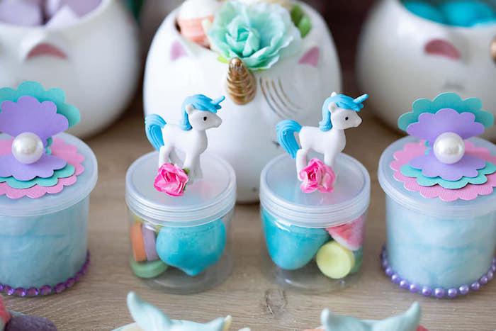 Unicorn + Sea Shell Favor Jars from a Unicorns and Mermaids Birthday Party on Kara's Party Ideas | KarasPartyIdeas.com (19)