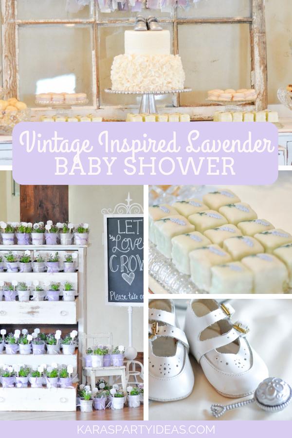 Vintage Lavender Inspired Baby Shower via Kara's Party Ideas - KarasPartyIdeas.com