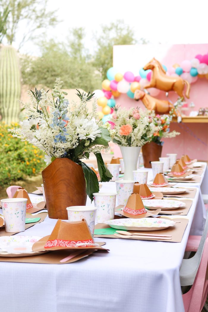 Western Party Table from a Wild & Free Horse Themed Birthday Party on Kara's Party Ideas | KarasPartyIdeas.com (21)