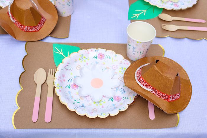Floral Western Table Setting from a Wild & Free Horse Themed Birthday Party on Kara's Party Ideas | KarasPartyIdeas.com (19)