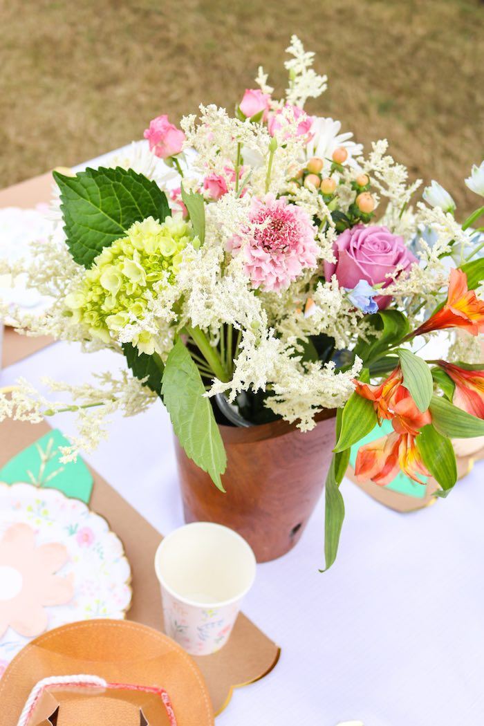 Western-inspired Blooms + Table Centerpiece from a Wild & Free Horse Themed Birthday Party on Kara's Party Ideas | KarasPartyIdeas.com (18)