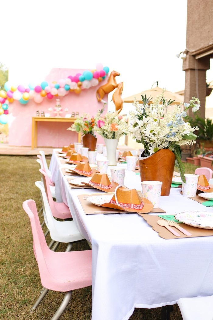 Western Themed Guest Table from a Wild & Free Horse Themed Birthday Party on Kara's Party Ideas | KarasPartyIdeas.com (17)