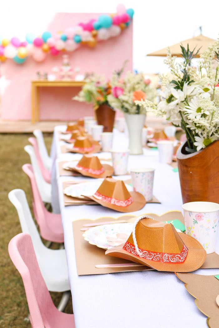 Western Guest Tablescape + Table Settings from a Wild & Free Horse Themed Birthday Party on Kara's Party Ideas | KarasPartyIdeas.com (16)