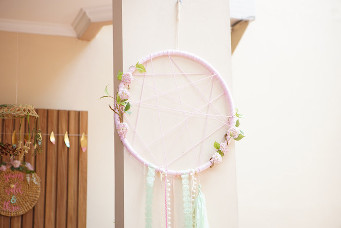 Pastel Pink Dream Catcher from a Young, Wild and Three Birthday Party on Kara's Party Ideas | KarasPartyIdeas.com (18)