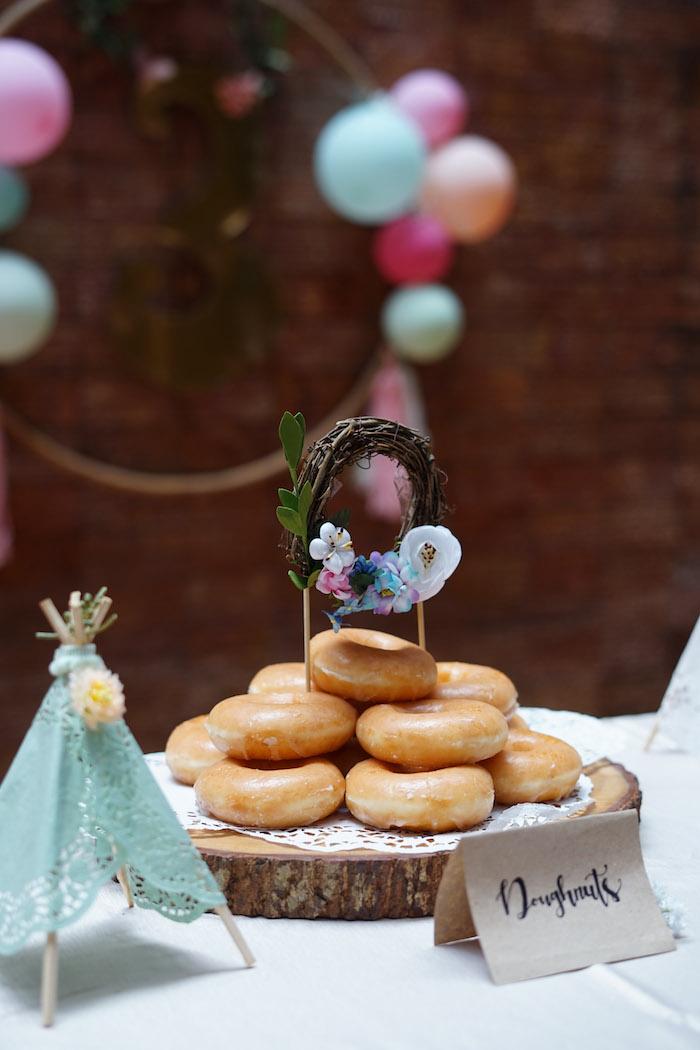 Boho Doughnuts from a Young, Wild and Three Birthday Party on Kara's Party Ideas | KarasPartyIdeas.com (16)