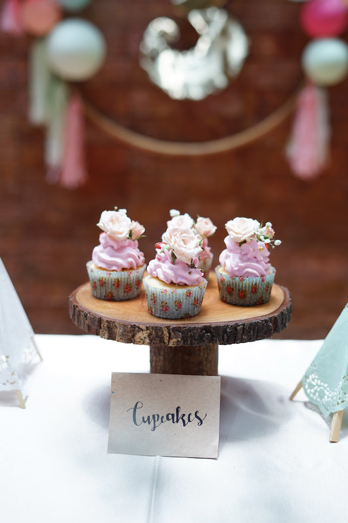 Boho Cupcakes from a Young, Wild and Three Birthday Party on Kara's Party Ideas | KarasPartyIdeas.com (15)
