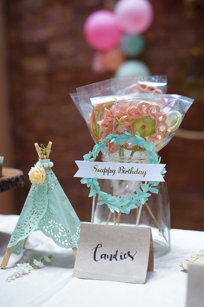 Boho Lollipops + Candies from a Young, Wild and Three Birthday Party on Kara's Party Ideas | KarasPartyIdeas.com (13)