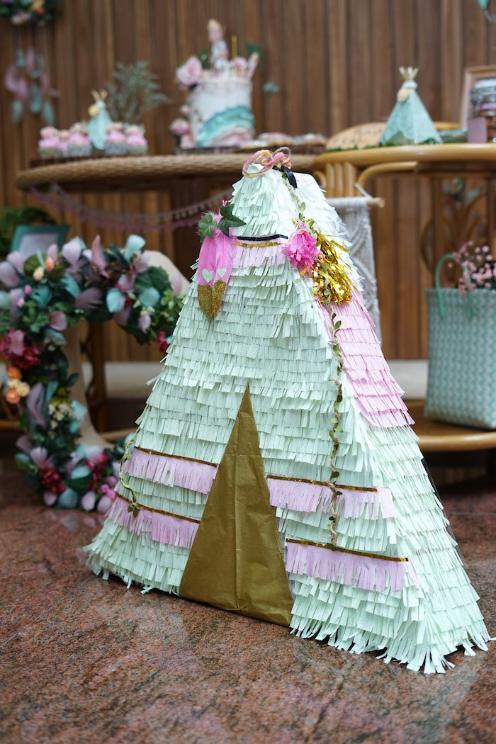 Fringe Teepee Pinata from a Young, Wild and Three Birthday Party on Kara's Party Ideas | KarasPartyIdeas.com (12)