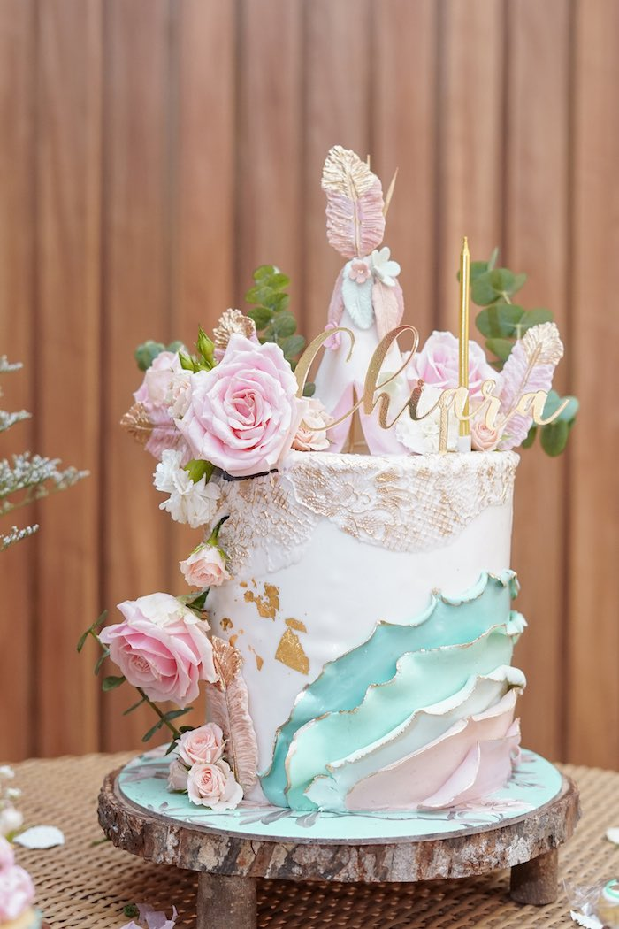 Pastel Boho Glam Cake from a Young, Wild and Three Birthday Party on Kara's Party Ideas | KarasPartyIdeas.com (10)