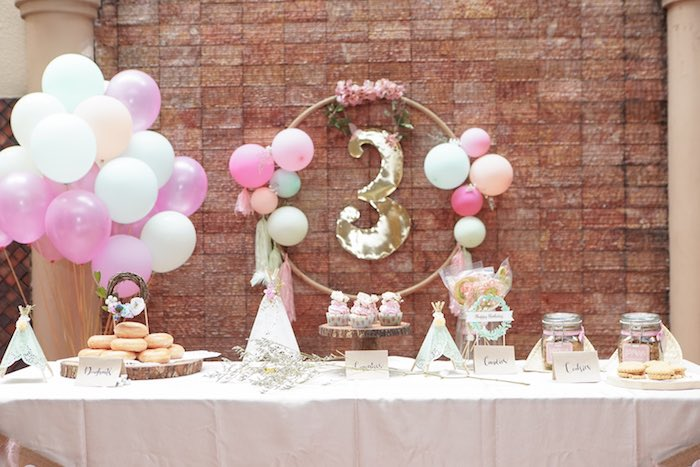 Girly Boho Dessert Table from a Young, Wild and Three Birthday Party on Kara's Party Ideas | KarasPartyIdeas.com (9)