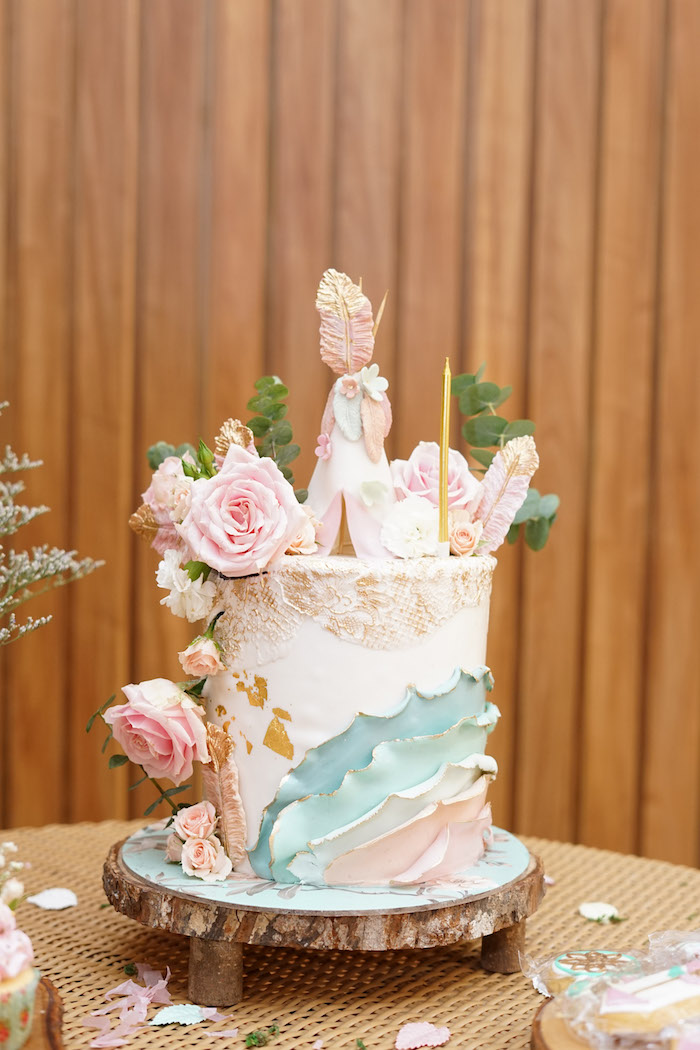 Boho Glam Cake from a Young, Wild and Three Birthday Party on Kara's Party Ideas | KarasPartyIdeas.com (27)