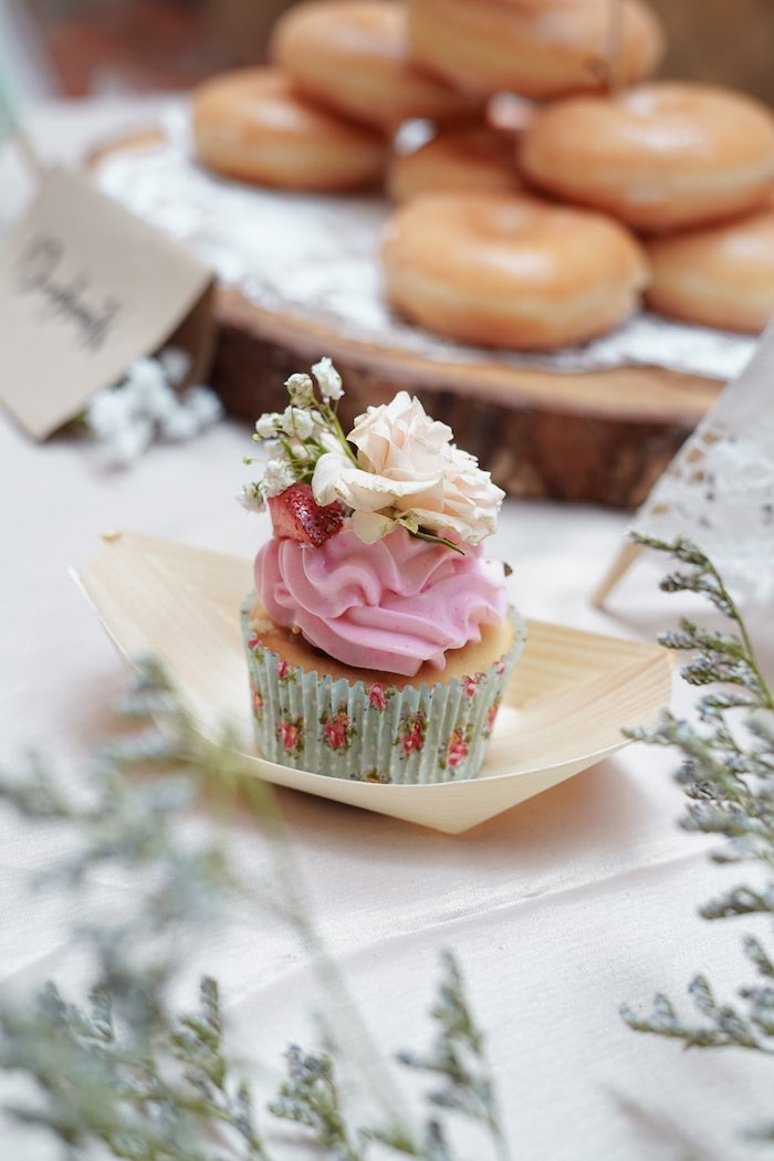 Boho Flower Cupcake from a Young, Wild and Three Birthday Party on Kara's Party Ideas | KarasPartyIdeas.com (8)