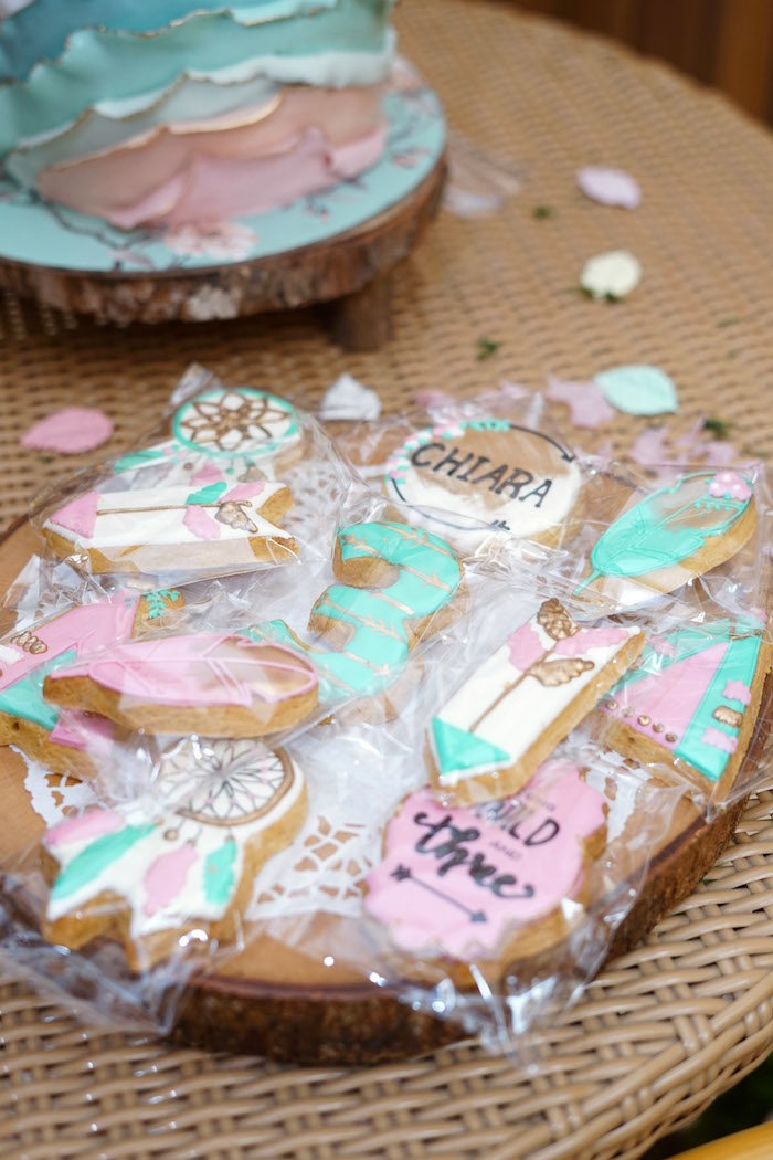 Boho Themed Sugar Cookies from a Young, Wild and Three Birthday Party on Kara's Party Ideas | KarasPartyIdeas.com (25)