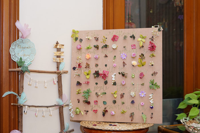 Flower Board from a Young, Wild and Three Birthday Party on Kara's Party Ideas | KarasPartyIdeas.com (23)