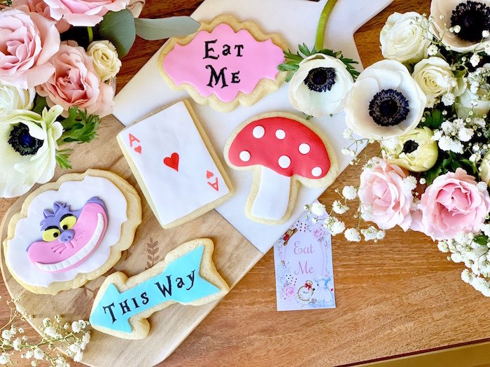 Alice in Wonderland-inspired Cookies + Flowers from an Alice in Wonderland Birthday Tea Party on Kara's Party Ideas | KarasPartyIdeas.com