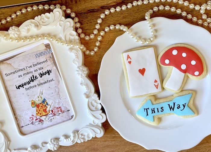 Wonderland Cookies and Signage from an Alice in Wonderland Birthday Tea Party on Kara's Party Ideas | KarasPartyIdeas.com