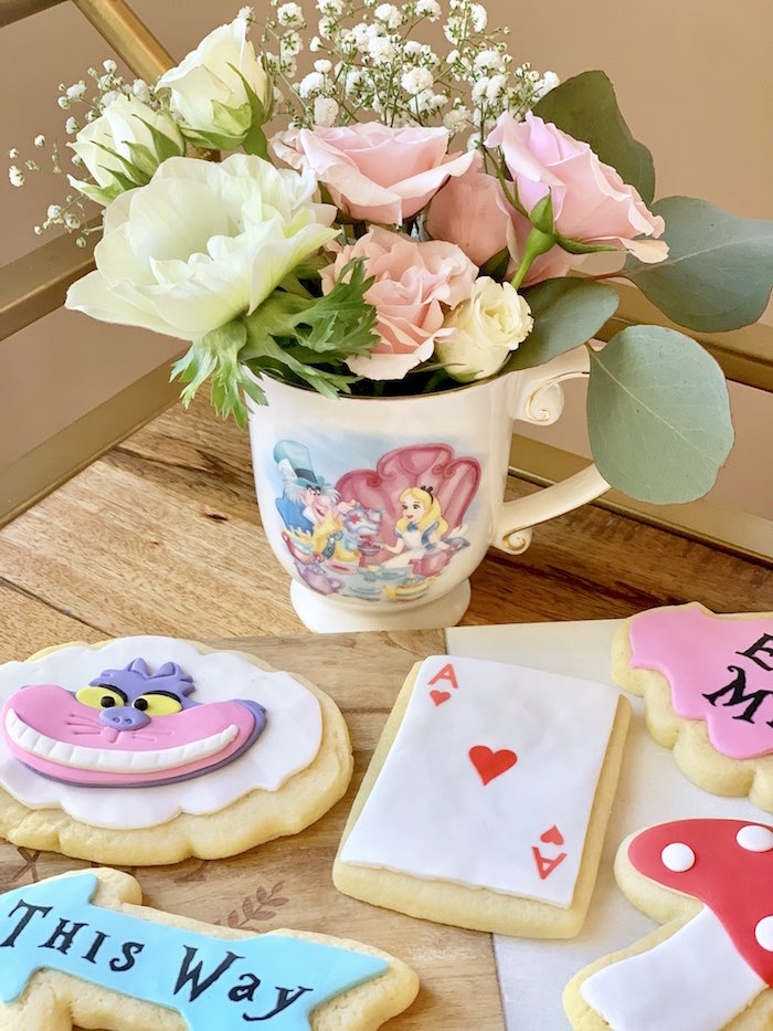 Alice in Wonderland Cookies with Tea Cup Blooms from an Alice in Wonderland Birthday Tea Party on Kara's Party Ideas | KarasPartyIdeas.com