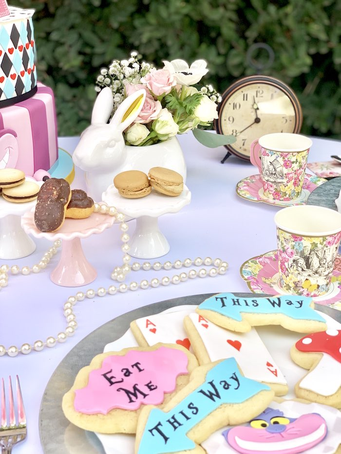 Dessert table bunny blooms from an Alice in Wonderland Birthday Tea Party on Kara's Party Ideas | KarasPartyIdeas.com