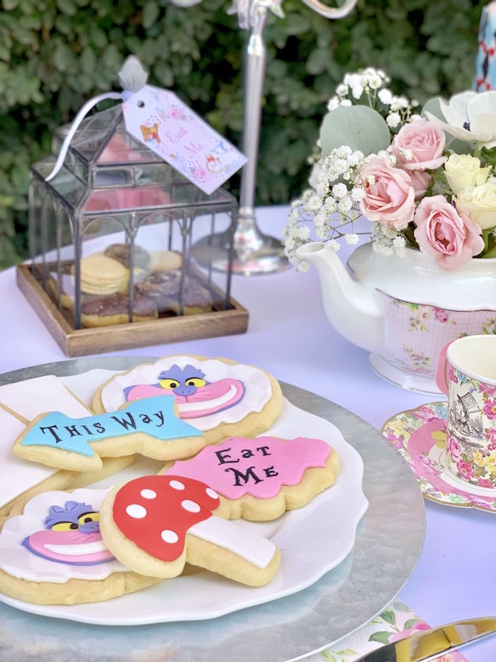 Alice in Wonderland dessert table with cookies from an Alice in Wonderland Birthday Tea Party on Kara's Party Ideas | KarasPartyIdeas.com