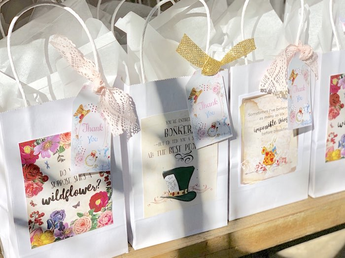 Alice in Wonderland-inspired Favor Bags from an Alice in Wonderland Birthday Tea Party on Kara's Party Ideas | KarasPartyIdeas.com