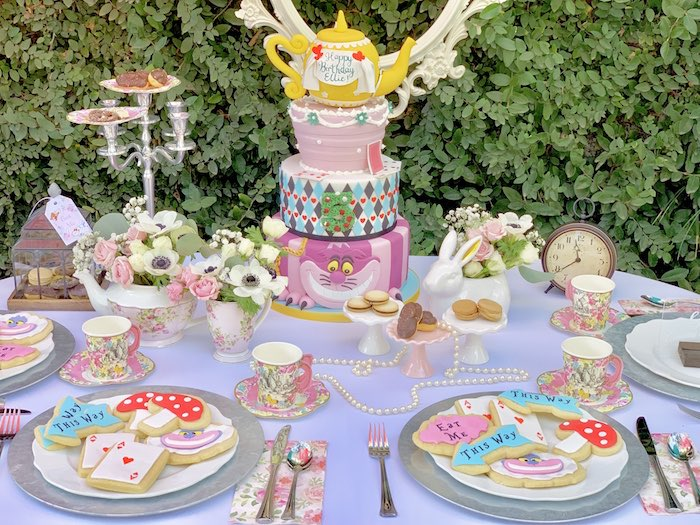 Alice in Wonderland Dessert Table from an Alice in Wonderland Birthday Tea Party on Kara's Party Ideas | KarasPartyIdeas.com