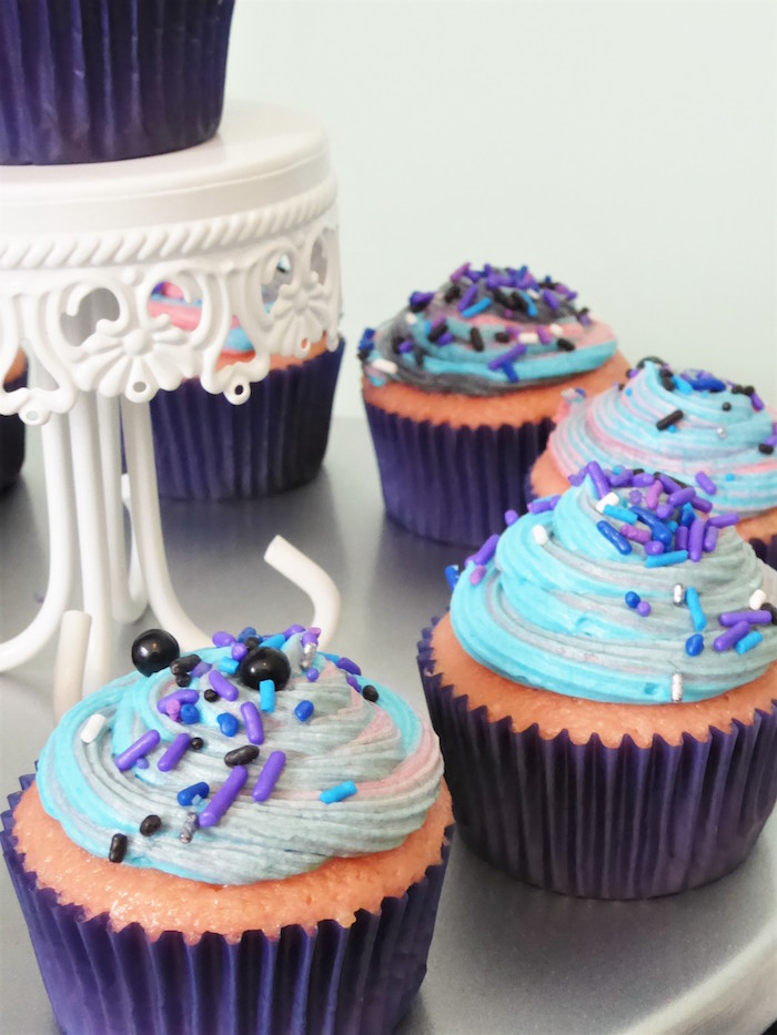 Galaxy Cupcakes from a Twinkling Star Galaxy Party on Kara's Party Ideas | KarasPartyIdeas.com