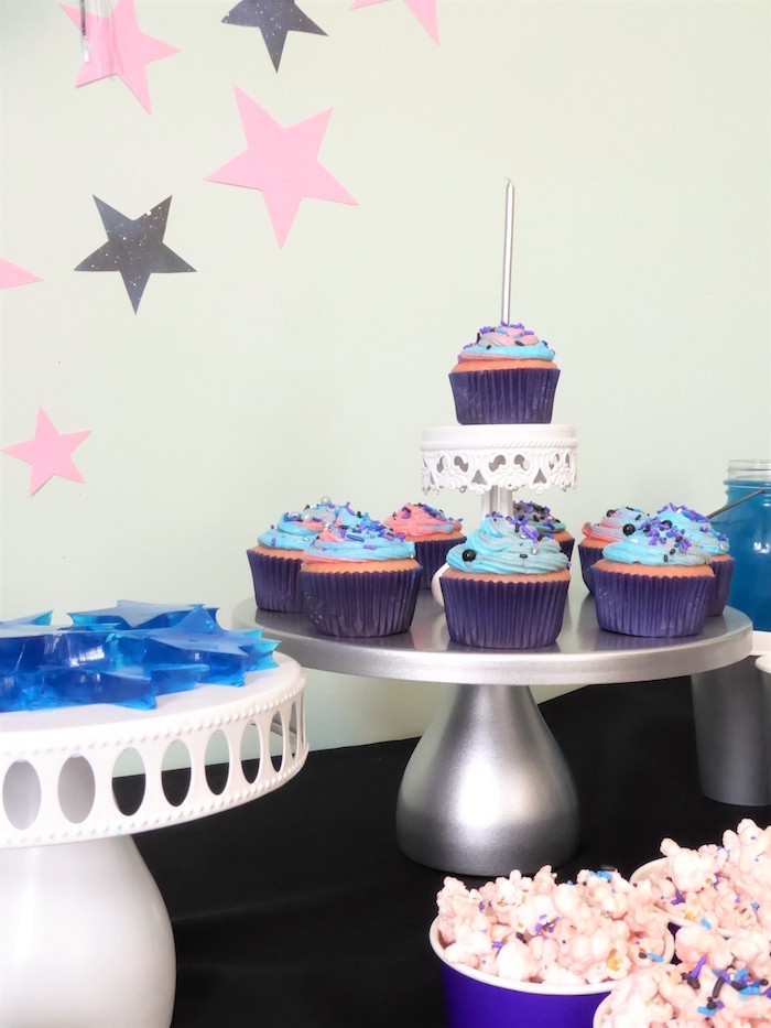 Star jello + galaxy cupcakes from a Twinkling Star Galaxy Party on Kara's Party Ideas | KarasPartyIdeas.com
