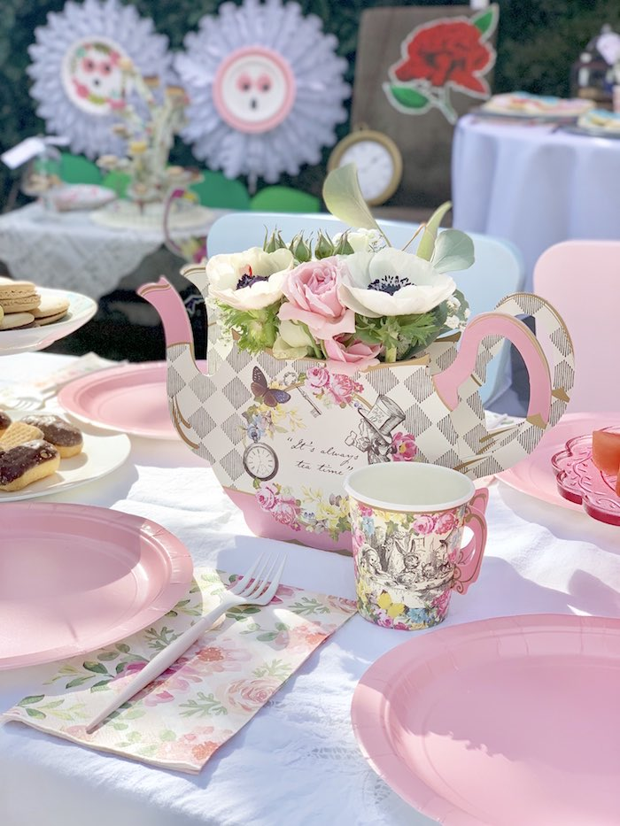 Kids Table - Tea Pot Flowers from an Alice in Wonderland Birthday Tea Party on Kara's Party Ideas | KarasPartyIdeas.com