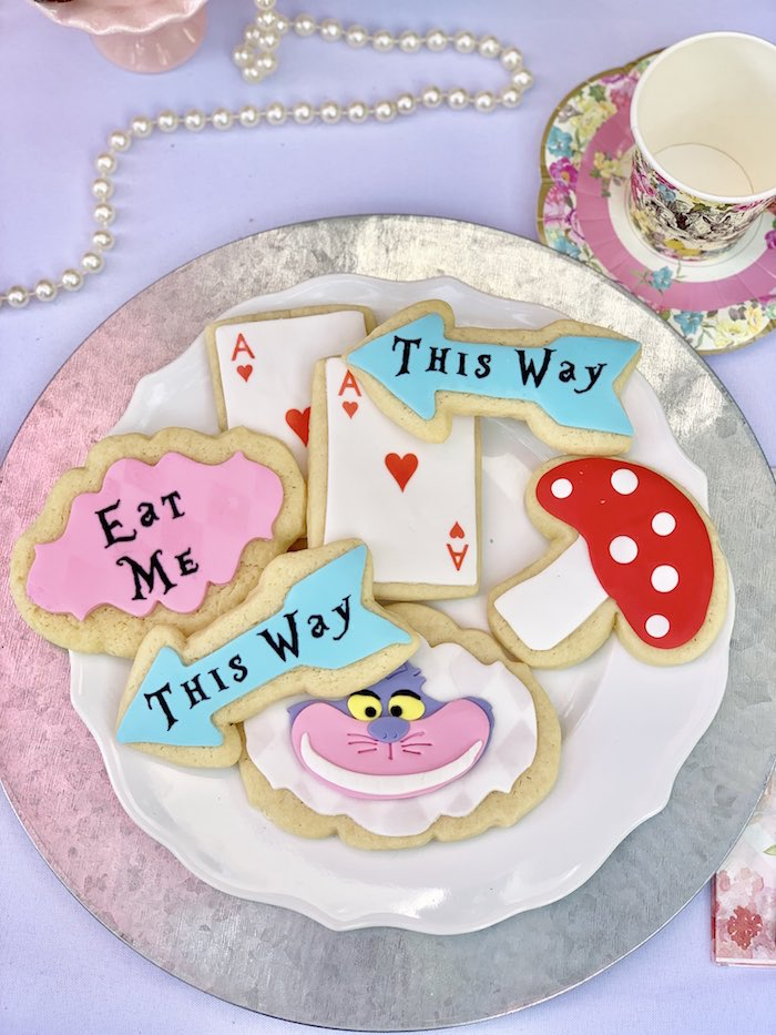 Plate of Alice in Wonderland Themed Sugar Cookies from an Alice in Wonderland Birthday Tea Party on Kara's Party Ideas | KarasPartyIdeas.com