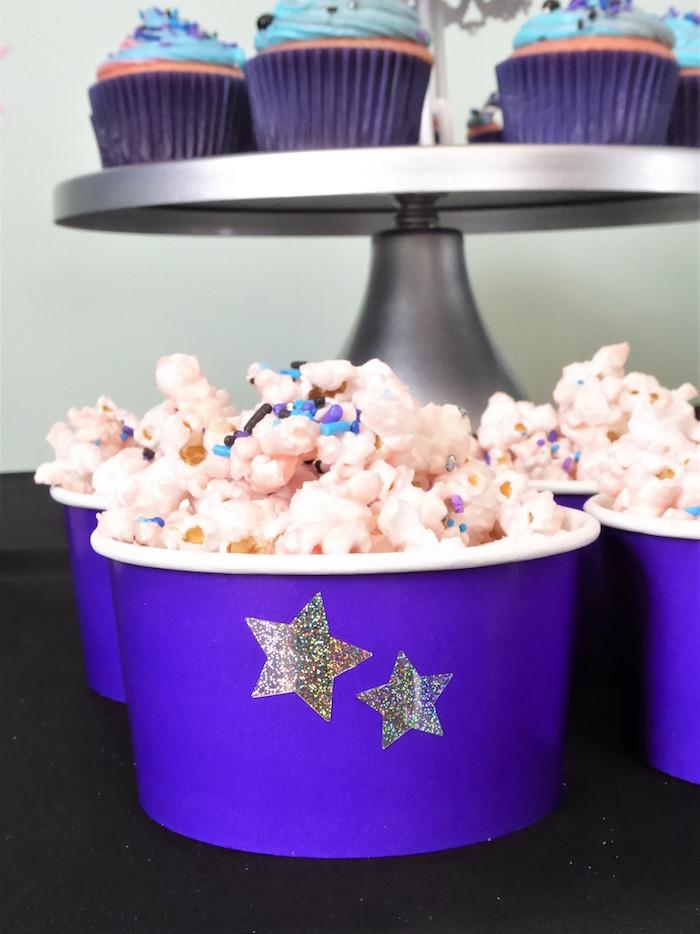 Galaxy Popcorn from a Twinkling Star Galaxy Party on Kara's Party Ideas | KarasPartyIdeas.com