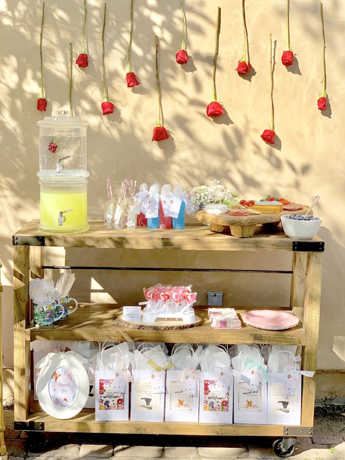 Red Rose Wall - Beverage & Snack Bar from an Alice in Wonderland Birthday Tea Party on Kara's Party Ideas | KarasPartyIdeas.com
