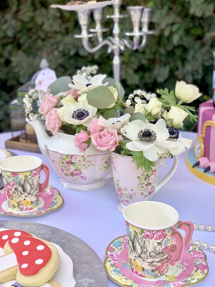 Tea Pot Flowers from an Alice in Wonderland Birthday Tea Party on Kara's Party Ideas | KarasPartyIdeas.com