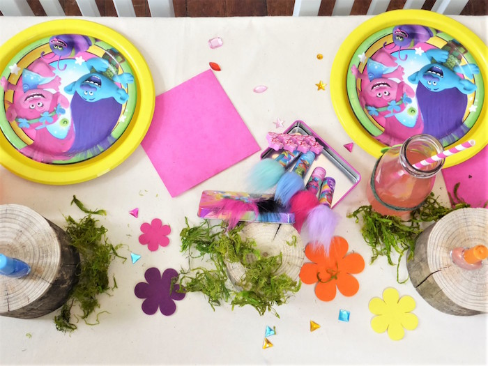 Trolls Themed Guest Table from a Trolls Themed Spa Party for Girls on Kara's Party Ideas | KarasPartyIdeas.com