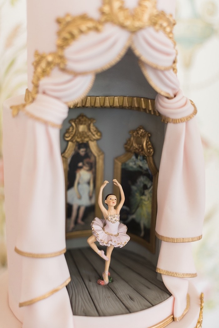 Ballerina on Stage - Cake Detail from a Ballerina Ball Birthday Party on Kara's Party Ideas | KarasPartyIdeas.com (26)