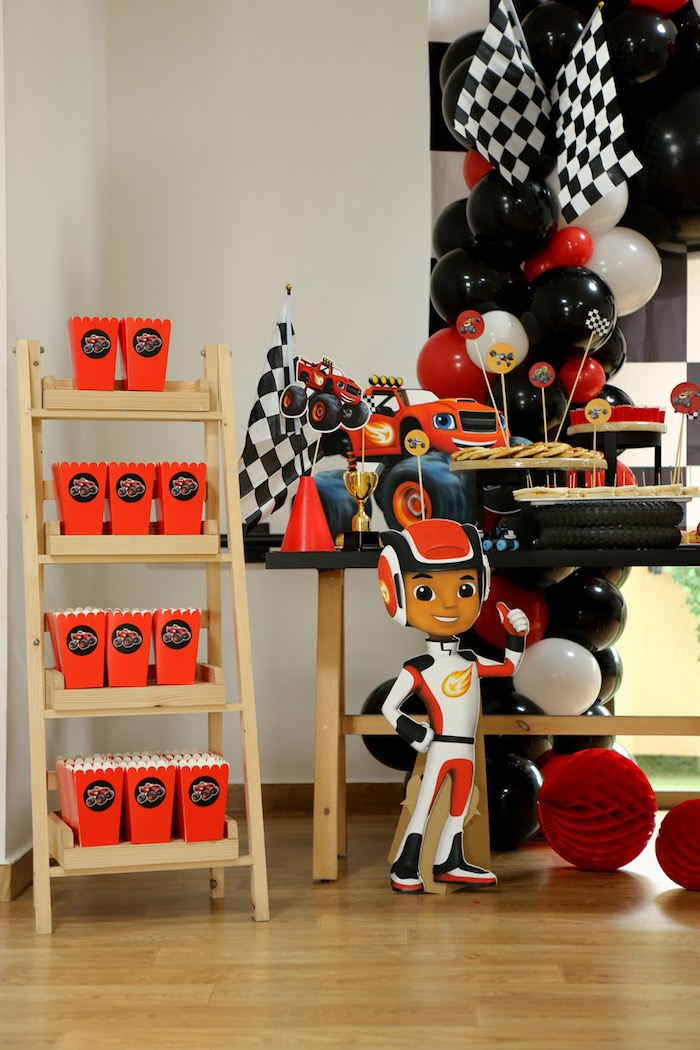 AJ Standee from a Blaze and the Monster Machine Birthday Party on Kara's Party Ideas | KarasPartyIdeas.com (8)
