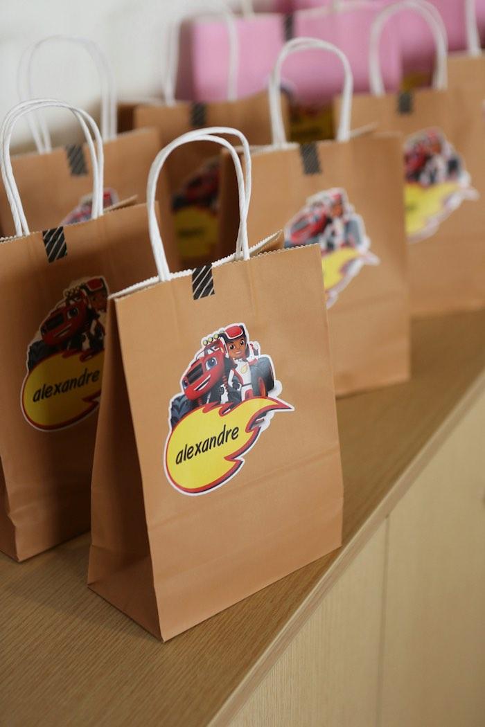 Brown Favor Sacks adorned with Blaze & AJ Stickers from a Blaze and the Monster Machine Birthday Party on Kara's Party Ideas | KarasPartyIdeas.com (3)