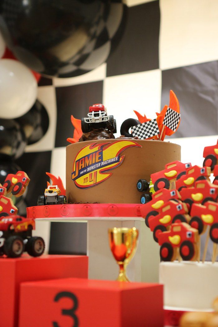 Blaze the Monster Truck Cake from a Blaze and the Monster Machine Birthday Party on Kara's Party Ideas | KarasPartyIdeas.com (18)