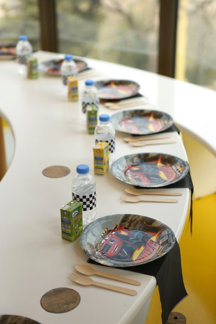 Table Settings from a Blaze and the Monster Machine Birthday Party on Kara's Party Ideas | KarasPartyIdeas.com (14)