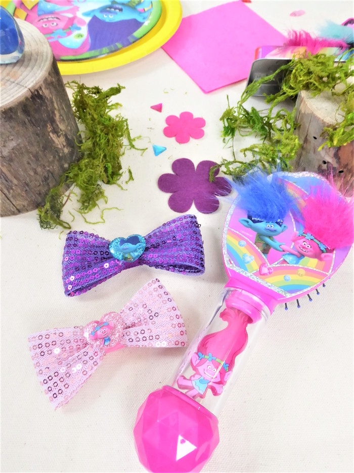 Brush and Bows from a Trolls Themed Spa Party for Girls on Kara's Party Ideas | KarasPartyIdeas.com